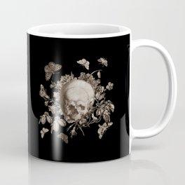 BLACK GOTHIC FLORAL SKULL Illustration Coffee Mug