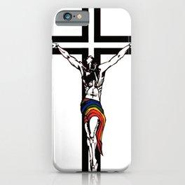 Christ Wearing Rainbow Loincloth On Stylized Cross iPhone Case