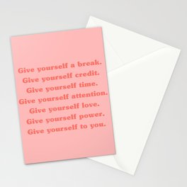 Give Yourself A Break, Credit, Time, Attention, Love, Power | Typography Stationery Cards