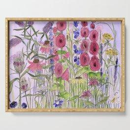 Watercolor Wildflower Garden Flowers Hollyhock Teasel Butterfly Bush Blue Sky Serving Tray