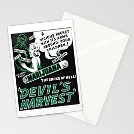 Vintage Marijuana Poster - The Devils Harvest Stationery Cards