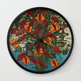 Grapes and Grape Leaves in Vase by Seraphine Louis Wall Clock
