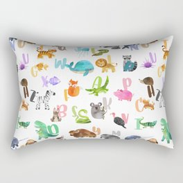 Cute Watercolor Animal Alphabet Pattern Rectangular Pillow