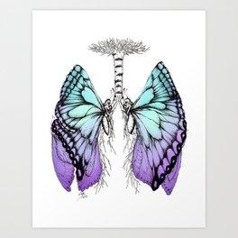 Butterfly Lungs Blue Purple Art Print