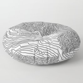 Pikes Peak Topo Map Floor Pillow
