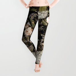 Sepia Spring Flowers Rose Midnight Botanical Garden  Leggings