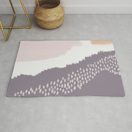 NORA :: Modern Abstract Painting Brush Strokes Color Palette Light Pink Mustard Gold Blue Lavender Rug