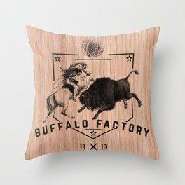 BUFFALO FACTORY HISTORY Throw Pillow