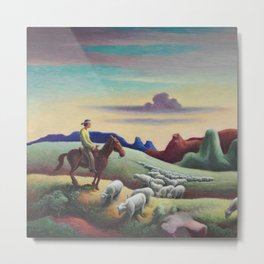 Navajo Sands, Monument Valley shepard with flock of sheep landscape painting by Thomas Hart Benton Metal Print