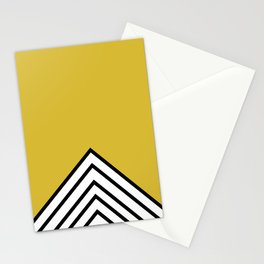 MUSTARD BLACK AND WHITE STRIPES Stationery Cards