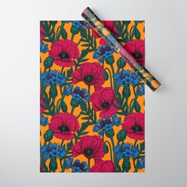 Red poppies and blue cornflowers Wrapping Paper