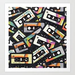 Retro Vintage Cassette Tapes Art Print