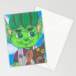 Young Goblin with stuffed dog Stationery Cards
