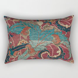 Flowery Arabic Rug I // 17th Century Colorful Plum Red Light Teal Sapphire Navy Blue Ornate Pattern Rectangular Pillow