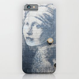 """Banksy """"Girl with a Burst Eardrum"""" iPhone Case"""