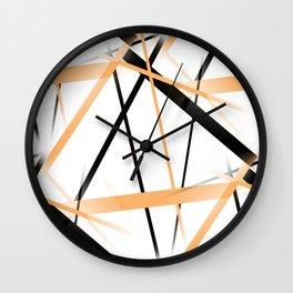 Criss Crossed Tangerine Orange and Black Stripes on White Wall Clock
