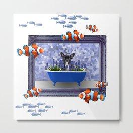 Clownfishes French Bulldog in Bathtub Frame Artwork Metal Print