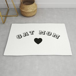CAT MOM Black Typography Rug