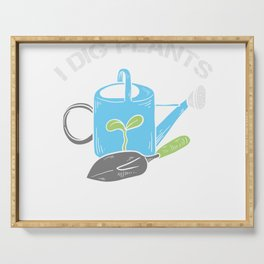 Watering Can Garden I Dig Plants Gift Serving Tray