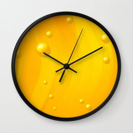 Orange wavy abstract with glossy beads art Wall Clock
