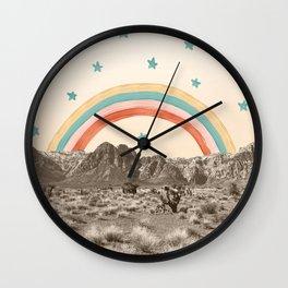 Canyon Desert Rainbow // Sierra Nevada Cactus Mountain Range Whimsical Painted Happy Stars Wall Clock
