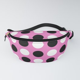 Mid Century Modern Polka Dots 922 Black White and Pink Fanny Pack