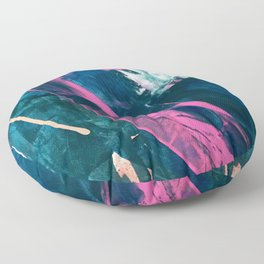 Wild [4]: a bold, vibrant abstract minimal piece in teal and neon pink Floor Pillow