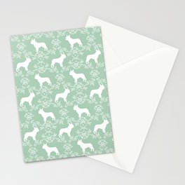 French Bulldog floral minimal mint and white pet silhouette frenchie pattern Stationery Cards