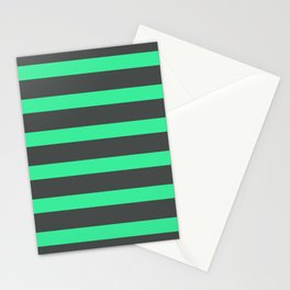 Green Turquoise Stripes on Gray Background Stationery Cards