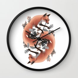 Foxes Chasing Tails Wall Clock