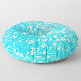 turquoise blue white floral pattern Floor Pillow