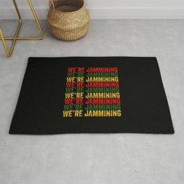 We're Jamming   Jamaican reggae  music lovers gift   Jamaica flag Rug