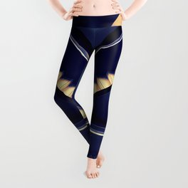 blue and golden endless stairs aesthetic abstract art print Leggings