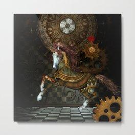 Steampunk,mystical steampunk unicorn Metal Print