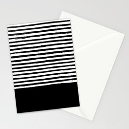 geometric art pattern with medium lines, black and white background Stationery Cards