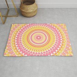 Sunny Pink Retro Mandala Rug