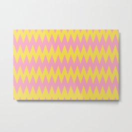 Zigzag Line Pattern Color of the Year 2021 Illuminating Yellow and Prism Pink 14-2311 Metal Print