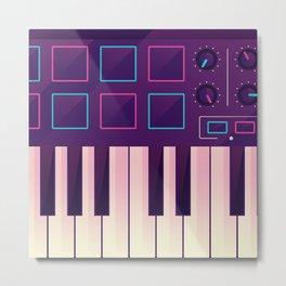 Neon MIDI Controller Metal Print