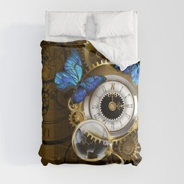 Silver Watches with Blue Butterflies ( Steampunk ) Comforters