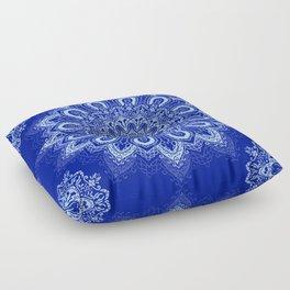 Blue Boho Mandala Flower Floor Pillow