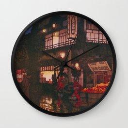 Yoshida Hiroshi - Tokyo Junidai, Kagurazaka Street-rainy Night - Digital Remastered Edition Wall Clock