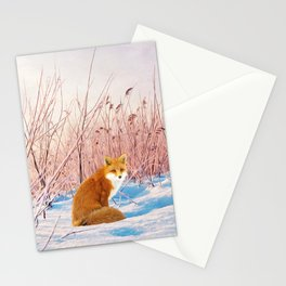 Red Fox in Snow Stationery Cards
