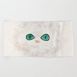White Persian Cat Beach Towel