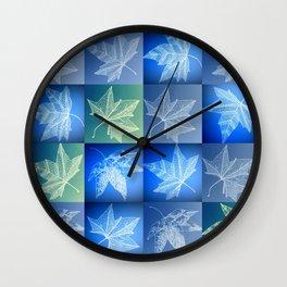 blue leaf drawings Wall Clock