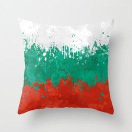 Bulgaria Flag - Messy Action Painting Throw Pillow