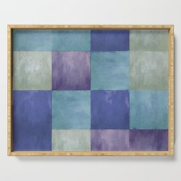 Blue Grey Tone Tiles Serving Tray
