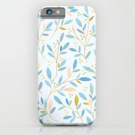 Leafy Sprigs | Blue Peach iPhone Case