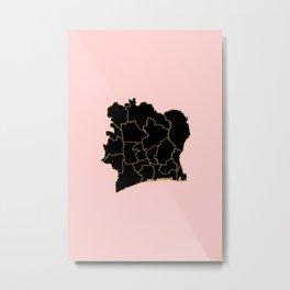Ivory coast map Metal Print