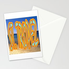 St. Tropez, text on beach. Stationery Cards