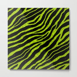 Ripped SpaceTime Stripes - Lime Yellow Metal Print